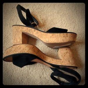 DVF Black Suede Platform Sandals Sz 8.5